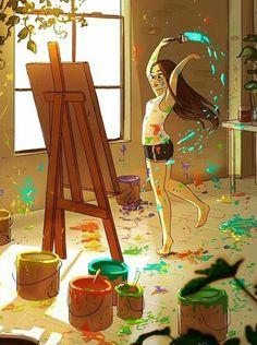 Resim çizen kız