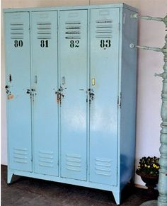 How perfect is this for storage. Great for children. Each will feel special with their numbered locker. Good for their sports things, that all kids have. And most importantly to me, these sky blue cabinets are so chic and industrial. Biddy Craft