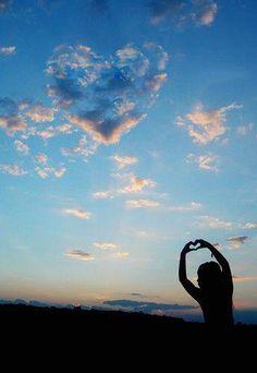 be happy!  Cloud heart. Sky