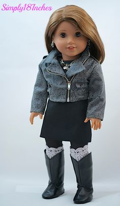 RESERVED FOR PL. American Girl Doll Clothing. Faux Leather Cropped Moto Jacket, Wool Sheath Dress, Statement Necklace & Earrings, Boot Cuffs