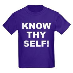 Children's dark color purple t-shirt with Know Thy Self theme. The Know Thy Self phrase is a spiritual esoteric saying reminding the individual that inner truth and awareness is important to understanding our existence. Available in black, red, navy blue, royal blue, purple; kids x-small, kids small, kids medium, kids large, kids x-large size for only $23.99. Go to the link to purchase the product and to see other options – http://www.cafepress.com/stkts