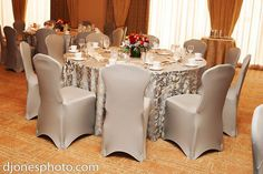Blue Olympus Damask with Slate Gray Spandex Chair Covers - www.overthetoplinen.com