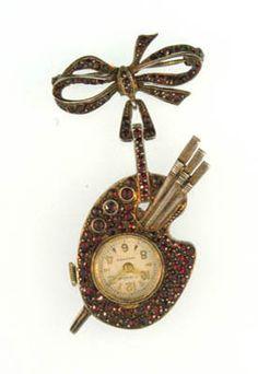 antique artist's lapel watch