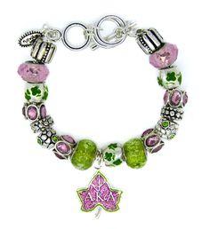 Pink & Green Ivy Alpha Kappa Alpha Mantra Bead Bracelet | AKA Sorority Jewelry  Murano Glass and Swarovski crystals. #akajewelry