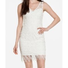 White lace v-neck sleeveless sheath bbdakota sz2 Brand new with tags. White lace sleeveless v-neck sheath dress with scallop hem. Bb dakota. Sz2. No PayPal, no trades. Bust: 31 in. Waist: 26 in. Hip: 32 in. BB Dakota Dresses