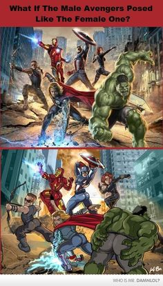 @IAmNotTonyStark What If the Male #Avengers Posed Like the Female Ones?