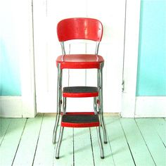 Vintage Red Step Stool Chair with pull out steps. My Grandpa had one and I loved it! Vintage Glam, Vintage Stool, Vintage Love, Vintage Items, My Childhood Memories, Great Memories, The Good Old Days, My Favorite Color, Vintage Kitchen