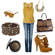 browns & yellows, created by anghula on Polyvore