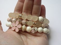 • trendy bransoletki, biżuteria - pastel flowers 2014 set - Ki Ka