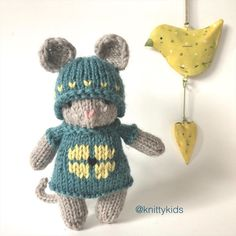 """Gudrun Dahle on Instagram: """"🌼🦋🐭 There's mouse in the house. (Well, there was for a few days, but she's been sold and is on her way to a new home.) 🐭🦋🌼"""" House Mouse, New Homes, Christmas Ornaments, Knitting, Holiday Decor, Kids, Instagram, Hand Crafts, Xmas Ornaments"""