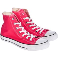 Converse Chuck Taylor Seasonals Hi-Top Trainers ($50) ❤ liked on Polyvore featuring shoes, sneakers, converse, sapatos, sport shoes, converse trainers, lace up high top sneakers, sports shoes and converse sneakers