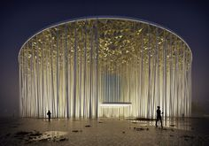 Image 1 of 12 from gallery of Steven Chilton Architects Builds a Forest of White Columns Around Wuxi Taihu Show Theater. Wuxi Show Theatre. Image Courtesy of Steven Chilton Architects Wuxi, Architecture Paramétrique, World Architecture Festival, Contemporary Architecture, Sustainable Architecture, Amazing Architecture, Plan Ville, Circular Buildings, La Madone
