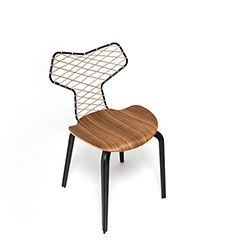 A Homage to Grand Prix™  In cooperation with Fritz Hansen the fashion label Han Kjøbenhavn have reimagined one of Arne Jacobsen's beautiful and iconic chairs with a sporty woven back.