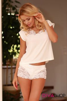 Sexy, glamourous or informal,Kanzeey's dresses give every look charm and sensuality,in Kanzeey's We are selling clothing and lingerie of European brands. Lace Shorts, White Shorts, Sleepwear Sets, Pajamas Women, Beige Color, Fashion Addict, Short Dresses, Lingerie, Stylish