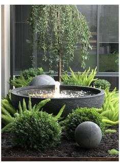 Small Water Features, Water Features In The Garden, Stone Water Features, Outdoor Water Features, Small Gardens, Outdoor Gardens, Water Gardens, Courtyard Gardens, Garden Fountains Outdoor