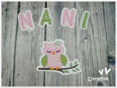 Applikation Eule Amira mit Buchstaben im Set