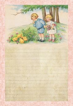 Lilac & Lavender: Children & Spring Chicks [Other options available. Stationary Printable, Printable Paper, Vintage Stationary, Printable Vintage, Vintage Labels, Vintage Cards, Easter Greeting Cards, Easter Card, Images Vintage