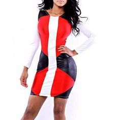 Fashion Red Black Patchwork Long Sleeve Mini Dress