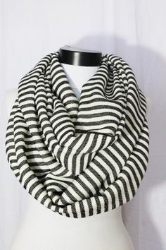 striped black and white infinity scarfboho scarf by salihadilber, $22.90