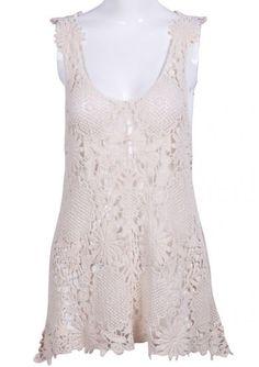 #SheInside Beige Spaghetti Strap Sheer Crochet Lace Vest