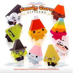 Candy Corn Citizens - Free downloadable paper toys by Dewmuffins. www.dewmuffins.com/papertoy #dewmuffins #papertoy #candycorn #halloween #papercraft