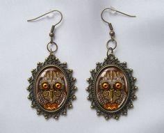 Bronze Earrings Steampunk Owl Goldy Locks door WildBuzzJewellery