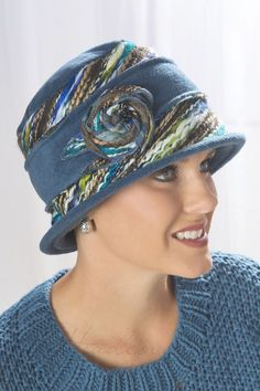 blue tweed kaleidoscope rosette hat for cancer patients