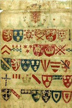 The 'Balliol Roll', roll-of-arms on vellum, England, c. 1340 [sold in 2007 by Sotheby's] -- On the dorse of the sixth and seventh membranes of the present roll is the only surviving copy of the Balliol Roll, the earliest roll of arms for Scotland. It contains thirty-five shields of Scottish noblemen arranged beneath the arms of Sir Edward Balliol, king of Scots (c. 1282-1364), and was almost certainly composed for that ruler.