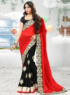 Red Georgette Half N Half Saree 93390
