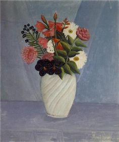 Henri Rousseau (1844 - 1910) | Naïve Art (Primitivism) | Bouquet of Flowers - 1910