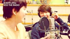 Kyuhyun and Donghae on Kiss The Radio. fisy attack evil maknae,   he was joking about hae singing