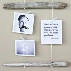 Display your photos with hanging driftwood!