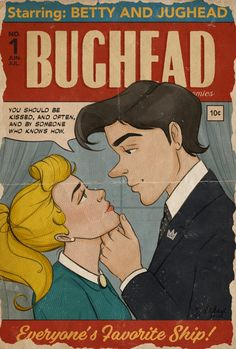 art, featuring vintage comic Betty and Jughead. Archie Comics Jughead, Archie Comics Betty, Archie Comic Books, Archie And Betty, Riverdale Comic Book, Archie Comics Riverdale, Bughead Riverdale, Riverdale Memes, Betty Comic