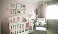 Quarto de menina cinza e rosa claro | Quarto de bebê - Decoração, bebês, gravidez e festa infantil