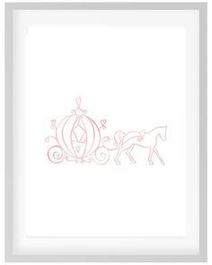 This pink watercolor print of Cinderellas Pumpkin Carriage with Horse will look…
