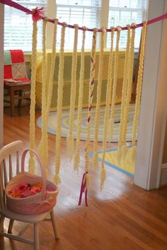 tangled!  Braids with mini tiara combs to adhere to hair.  Read traditional rapunzel story.
