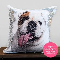 2019'S BEST GIFT FOR PET LOVERS! Surprise Hem/Her in this Valentine's By Making Custom Pillow With His/Her Pup's Photo!! You Can Put Any Picture! Not Just Dog Picture. Put Your Pup's Photo on A Reversible Sequins Cushion (Best Valentine's.
