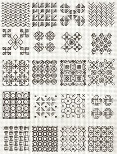 blackwork fill-in patterns from Lesley Wilkins Beginner's Guide to Blackwork - cross stitch    I've been planning a largeish-scale blackwork project. These may come in handy...