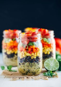 Southwestern Quinoa Mason Jar Salads- quinoa layered with a cumin lime dressing, black beans, corn, bell peppers and cherry tomatoes. Perfect to prep for delicious and healthy lunches during the week! (vegan + gluten-free) Just like overnight oats, I'm about 1,000 years late to the Mason Jar Salad Party. Except this time, I don't have …