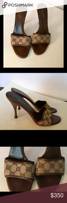 Gucci Brown & Tan Leather Logo Print sandals 8.5 Vintage Gucci Brown & Tan Leather Logo Print Slide Sandal Heels Size 8 ½ Gucci brown & tan leather & cloth logo print high heel slide sandals. High heel sandals with slide strap in beige with brown classic Gucci logo print with brown leather trim, inside of shoe & slim brown heel. Worn but in good condition only ware is on bottom of soles no side or front scuffing. More photos available upon request. Make an offer. Rare great condition classic…