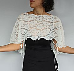 Bridal Cover up Ivory Cream Lace Shrug Ivory by MammaMiaBridal