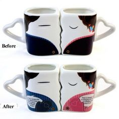 Funny Emoji Magic Morning Mug Coffee Tea Milk Hot Cold Heat Sensitive Color-Changing Morphing Mug Cup,Set of 2 Gifts For Him, Great Gifts, Changing Spaces, Lovers Kiss, Couple Mugs, Funny Emoji, Cupping Set, Hot Coffee, Tea Mugs