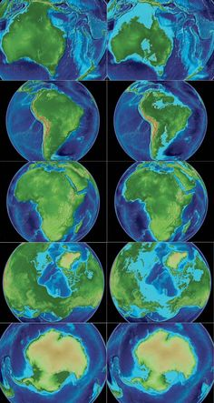 The world in 120m lower sea level vs an 80m rise in sea level, via NASA World Wind by mattsdfgh (reddit)