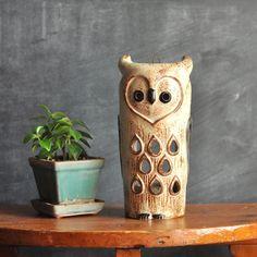 Vintage 1970s Ceramic Owl Candle Holder Lantern