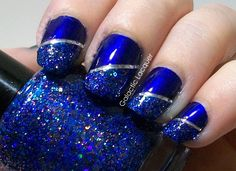 Glamorous is mostly made up of dark blue glitter, but most of it very holographic in person, and you can appreciate the tiny pink flecks more too. Description from galacticlacquer.com. I searched for this on bing.com/images