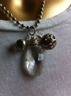 Chandelier crystal pendant necklace on ball chain by EclectiqueMix on etsy