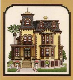 Fulton Mansion - Rockport-Fulton, Texas - Finished Counted Cross Stitch - 10 x - Unframed by StitchesByLaurie on Etsy Cross Stitch House, Cross Stitch Kits, Cross Stitch Designs, Cross Stitch Patterns, Cross Stitching, Cross Stitch Embroidery, Embroidery Patterns, Cross Stitch Numbers, Mansion Designs
