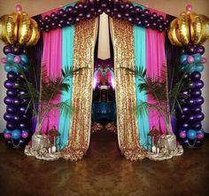 Arabian Nights Birthday Party Entrance from an Arabian Nights Birthday Party on Kara's Party Ideas Arabian Theme, Arabian Party, Arabian Nights Theme Party, Arabian Prom Dress, Jasmin Party, Princess Jasmine Party, Aladdin Birthday Party, Aladdin Party, Birthday Diy