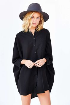 Picture of Stella Maxwell Pajama Shirt, Pajama Top, Urban Outfitters Clothes, Urban Street Style, Urban Dresses, Black Pajamas, Dresses For Sale, Mini Dresses, Shirt Dress