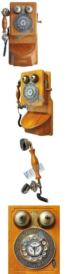 Corded Telephones: Pyle Prt45 Vintage Style Home Country Wall Phone Handcrafted Classic Design New BUY IT NOW ONLY: $76.58